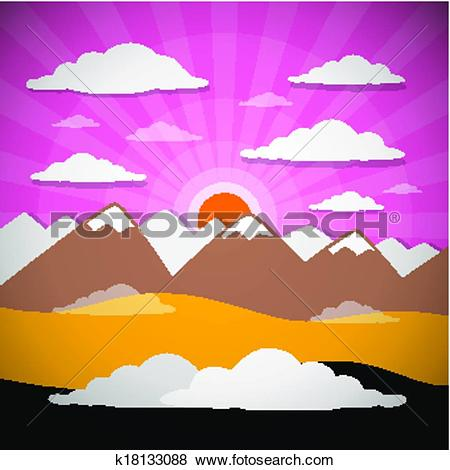 Clip Art of Nature Abstract Mountains Illustration with Clouds.