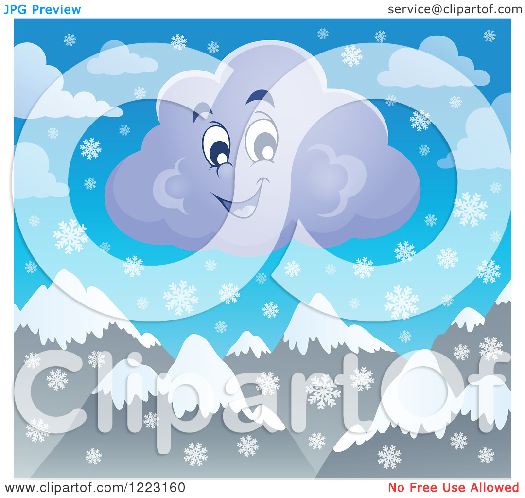 Clipart of a Happy Winter Cloud with Snowflakes over Mountains.