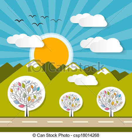 Clip Art Vector of Nature Paper Mountains Illustration with Clouds.