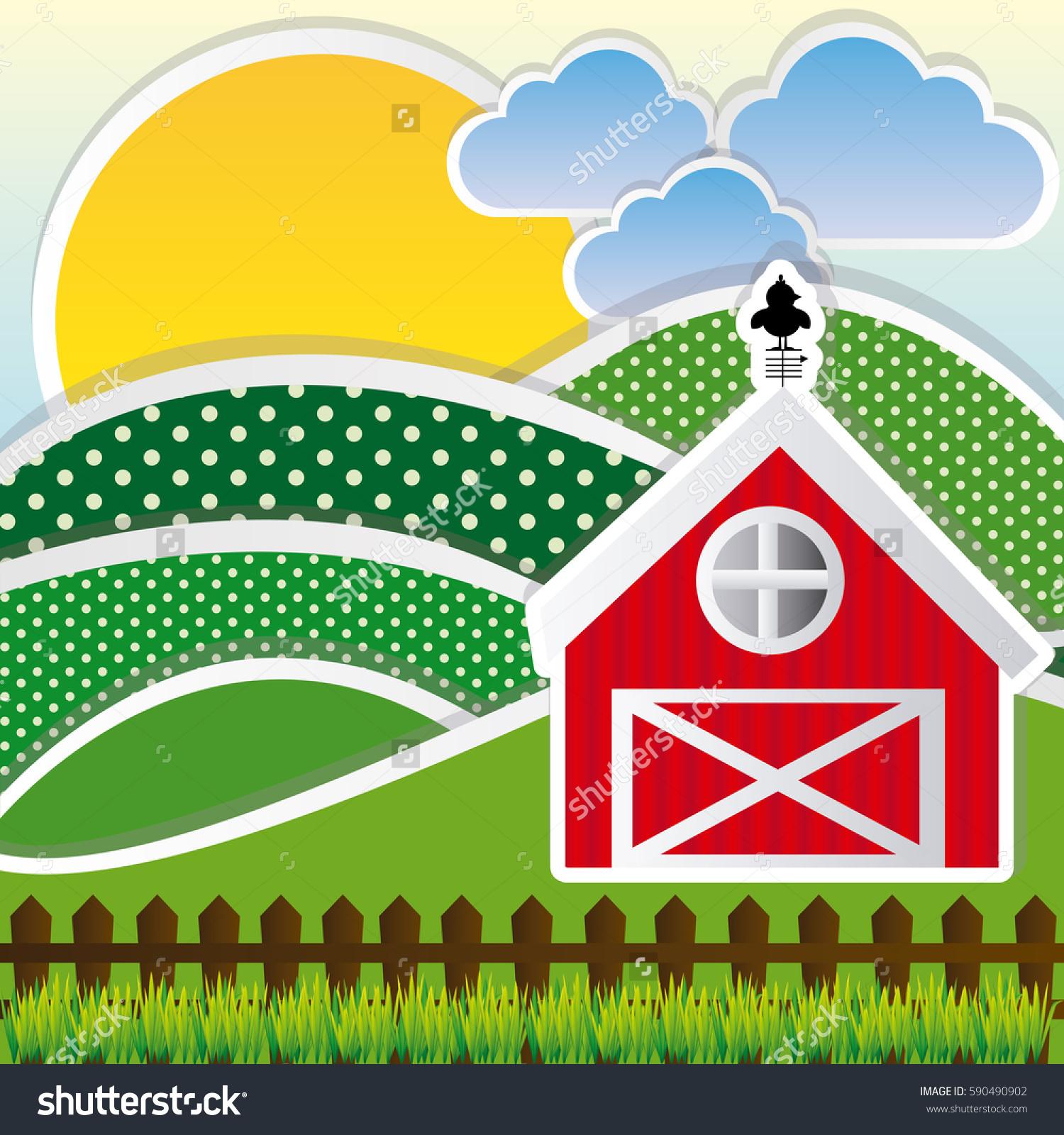 Color Sun Cloud Mountains Farm Vector Stock Vector 590490902.