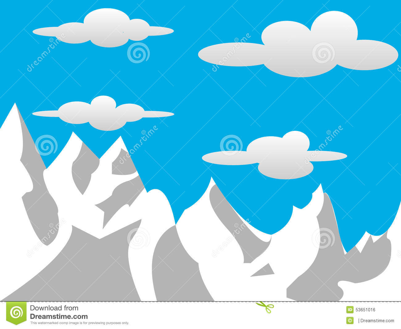 2D Mountains With Clouds Stock Illustration.