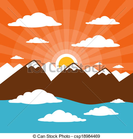 Clip Art Vector of Nature Abstract Mountains Illustration with.