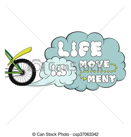 EPS Vector of Lettering. Life is movement. Words on dust cloud.
