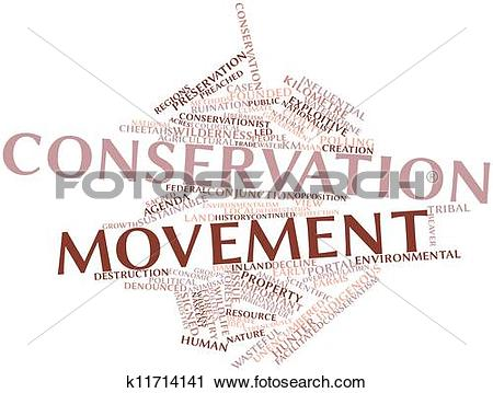 Clipart of Word cloud for Conservation movement k11714141.