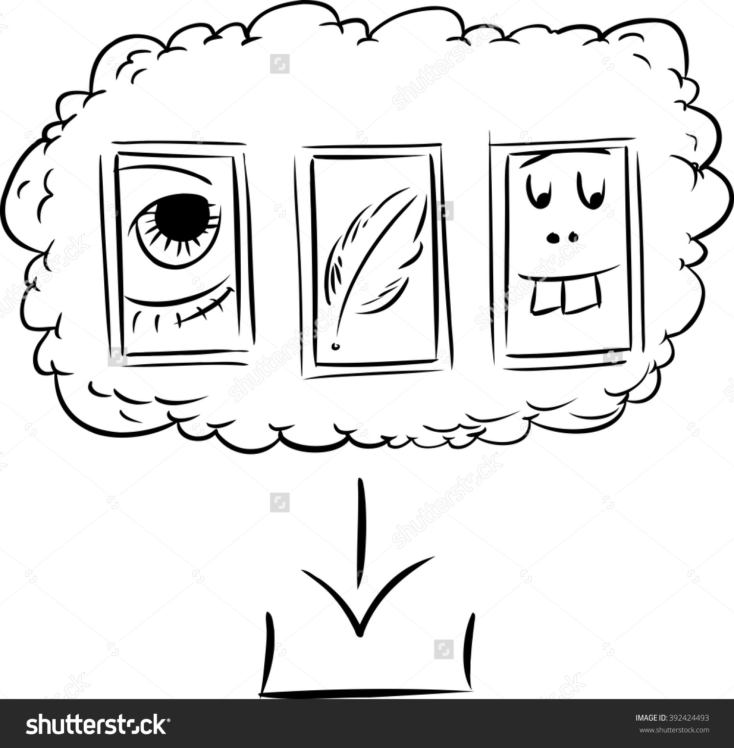 Outline Doodle Of Silly Icons As Files In Computer Server Cloud.