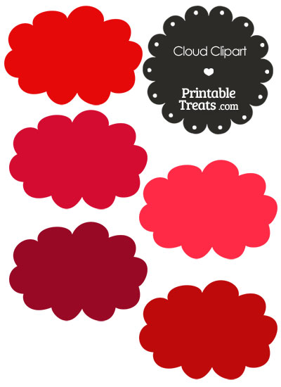 Cloud Clipart in Shades of Red — Printable Treats.com.
