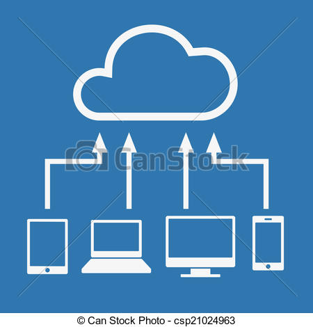 Clip Art Vector of Cloud computing concept. Various devices like.