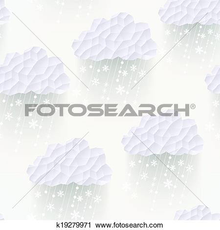 Clipart of Vector cloud seamless pattern with snowflakes, hipster.