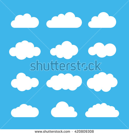 Set Blue Sky Clouds Cloud Icon Stock Vector 376862737.