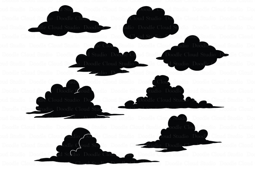 Clouds SVG files for Silhouette Cameo and Cricut. Clouds Weather svg & png,  Cartoon Clouds, Clouds clipart PNG, transparent included,.