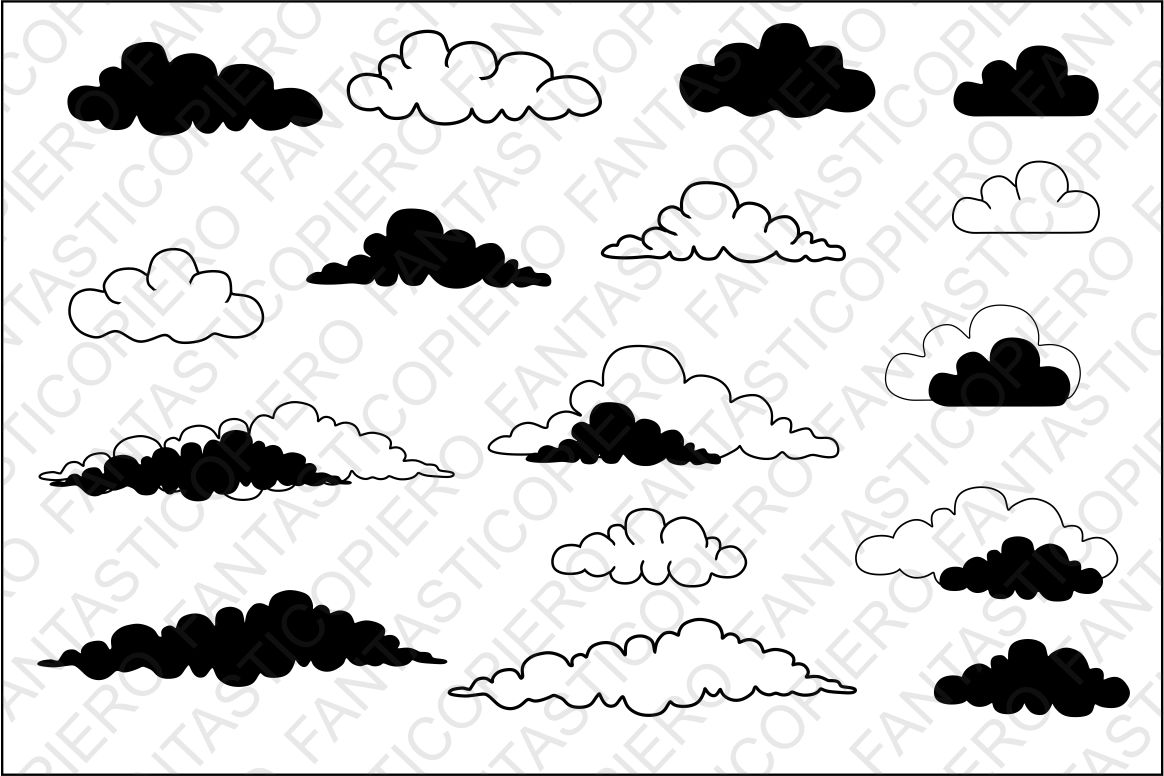 Clouds SVG files for Silhouette Cameo and Cricut. Clouds clipart PNG  transparent included..