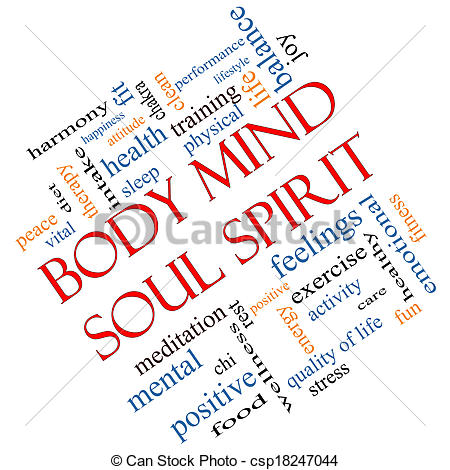 Stock Photo of Body Mind Soul Spirit Word Cloud Concept Angled.