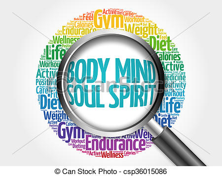 Stock Illustration of Body Mind Soul Spirit word cloud with.