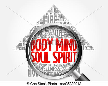 Clipart of Body Mind Soul Spirit arrow word cloud with magnifying.