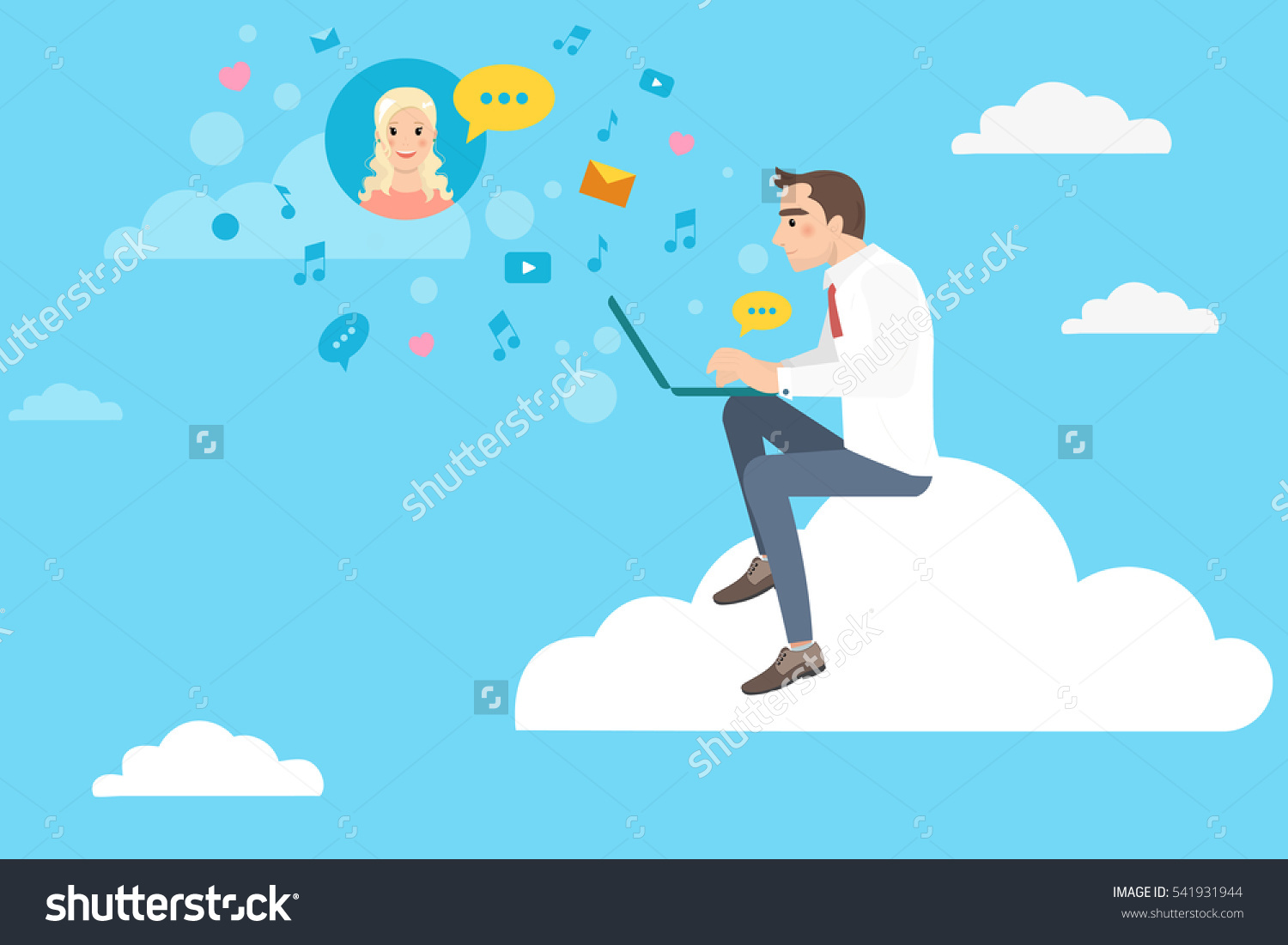 Young Man Sits On Cloud Chat Stock Vector 541931944.