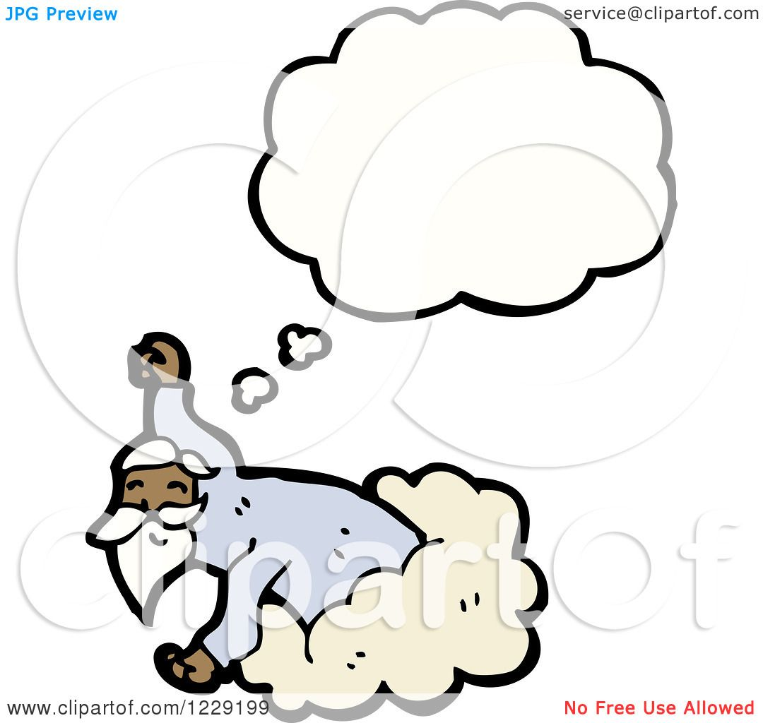 Clipart of a Thinking Man in a Cloud.