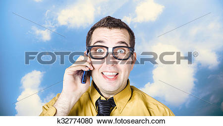 Stock Photography of Businessman talking the talk. Cloud.