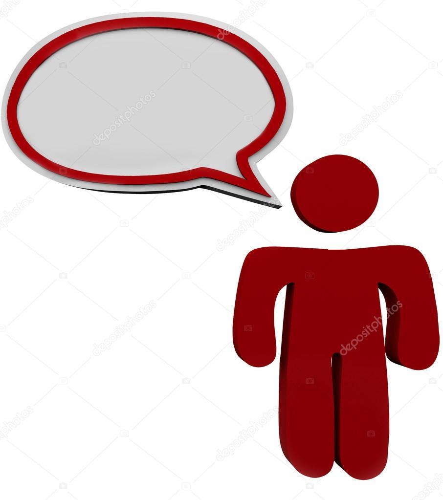 Speech Bubble Person Talking Speaking Man Red Cloud — Stock Photo.