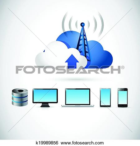 Clip Art of electronics and cloud tower connection k19989856.