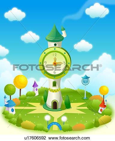 Clip Art of Clock tower in a field u17606592.