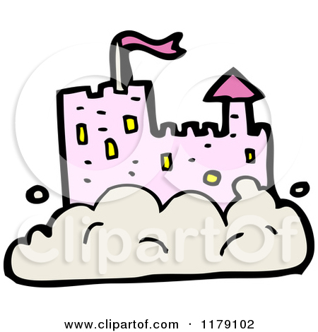 Cartoon of a Castle Tower in a Cloud.