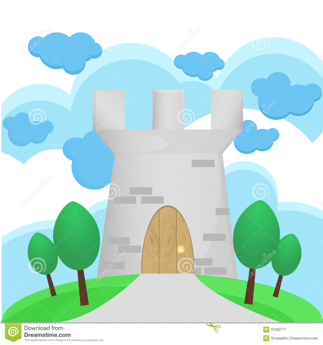 Illustration Of Medieval Tower With Big Cloud Stock Image.