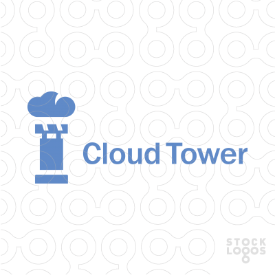 Exclusive Customizable Logo For Sale: Cloud Tower.