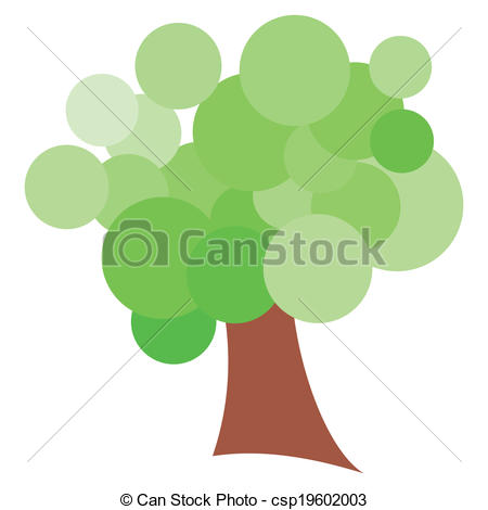 Stock Illustration of The Green Funky Cloud Tree.
