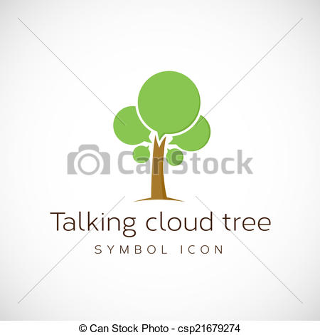 Vectors Illustration of Talking Cloud Tree Vector Concept Symbol.