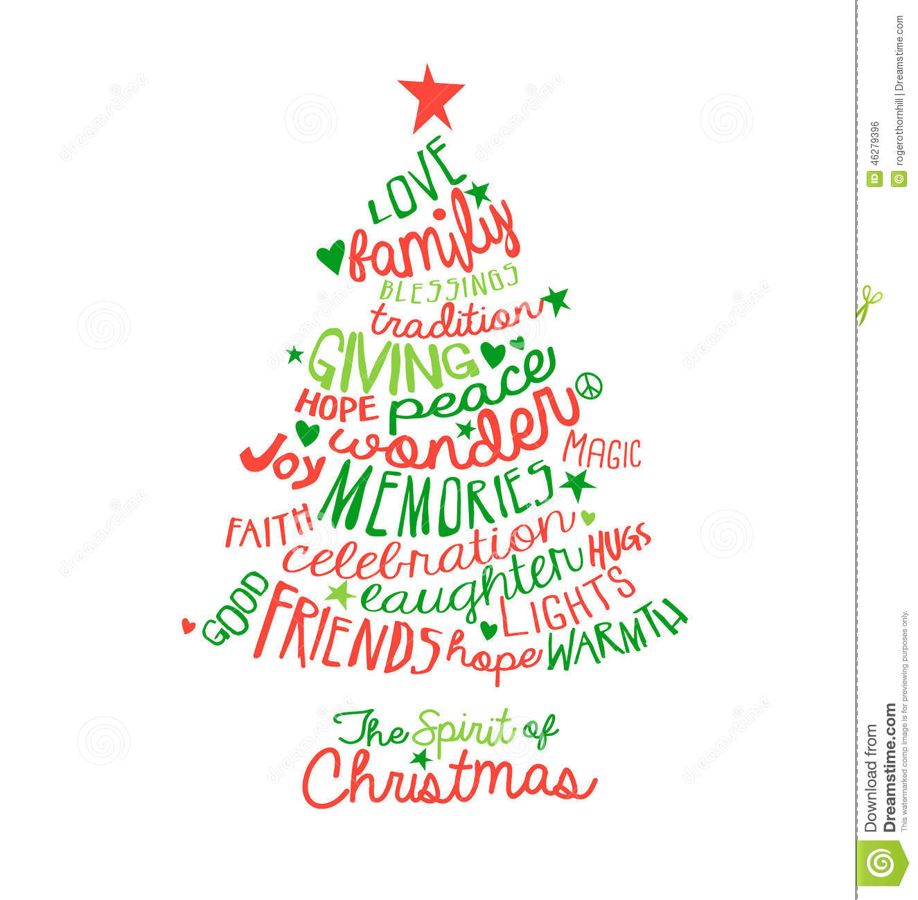 Christmas tree words clipart.
