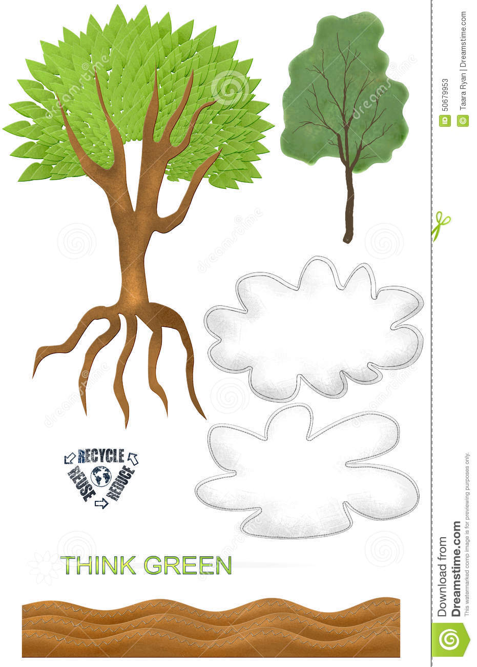 Simple Earth Day Tree Cloud Recycle Textured Spring Clip Art.