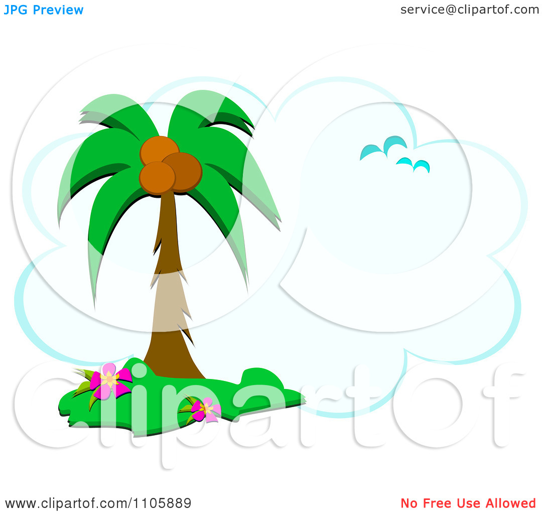 Clipart Tropical Palm Tree Gulls And Cloud Frame.