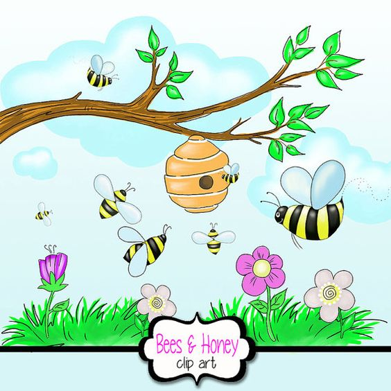 Honey Bee Clipart with Beehive + Flowers+ tree Branch + Grass +.
