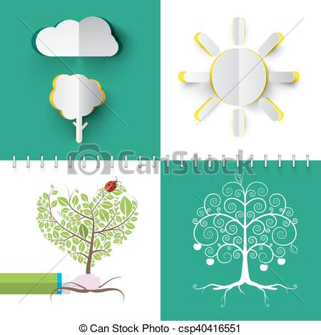 Clipart Vector of Nature Symbols Set. Vector Paper Cut Cloud, Tree.
