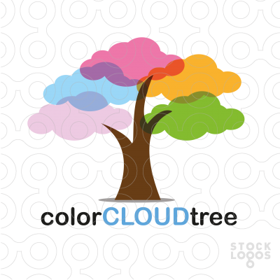 Exclusive Customizable Logo For Sale: color cloud tree.
