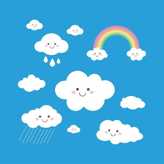 Rainbow Clip Art Rain Cloud Raindrops Clipart PNG By HandMek.
