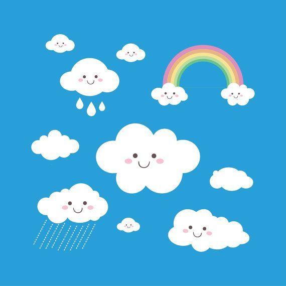 Rainbow Clip Art Rain Cloud Raindrops Clipart PNG By HandMek.