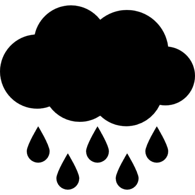 Rain black cloud with raindrops falling down Icons.