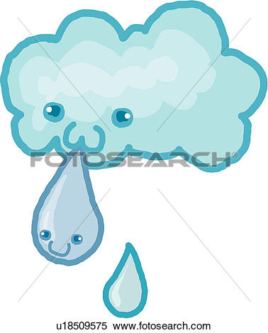 Clipart of smiling, dark clouds, anthropomorphic, raindrops, spit.