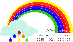 Clip Art Image of a Rainbow With a Cloud and Raindrops.