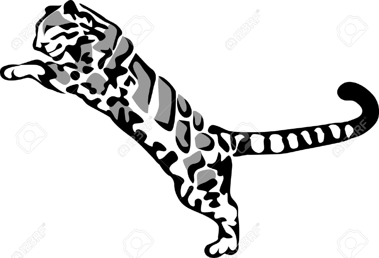 Clouded Leopard Jumping Royalty Free Cliparts, Vectors, And Stock.