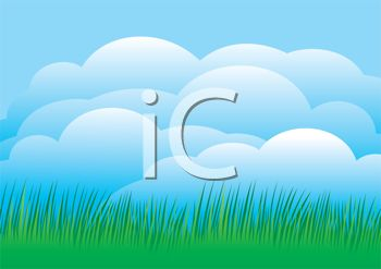 A Clip Art of a Beautiful Cloudy Sky and a Green Pasture of Grass.