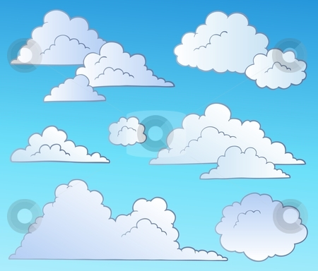 Cartoon clouds collection stock vector.