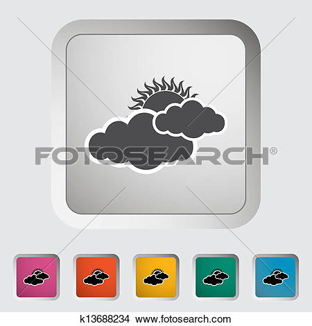 Clipart of Cloudiness single icon. k13688234.