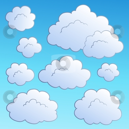 Cartoon clouds collection 2 stock vector.