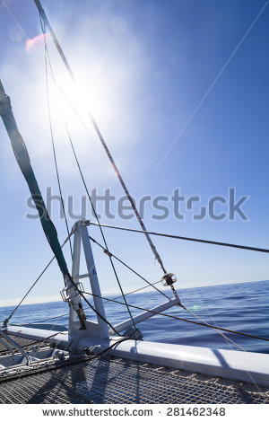 Yacht Blue Cloudless Sail Stock Photos, Royalty.