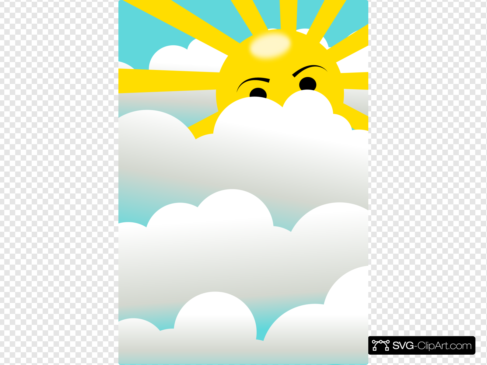 Clouds With Hidden Sun Clip art, Icon and SVG.