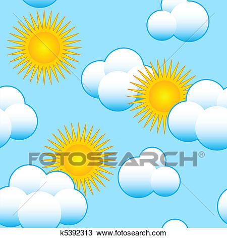 Abstract sky background with clouds and sun Clipart.