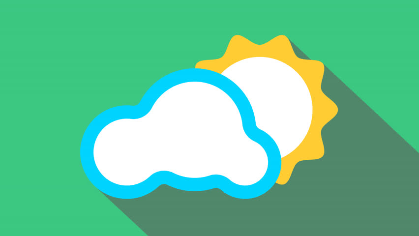 Weather Animation. Cloud, Sun Icon Stock Footage Video (100% Royalty.