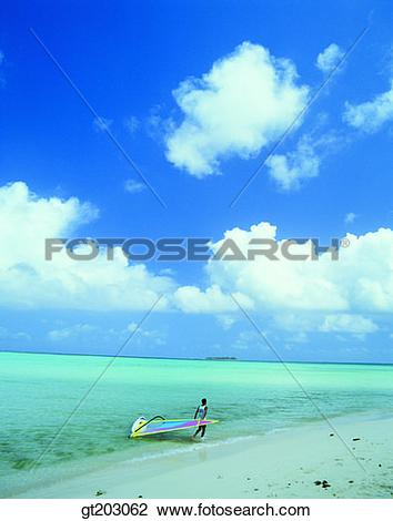 Stock Photo of sea, cloud, clouds, white cloud, beach, seashore.
